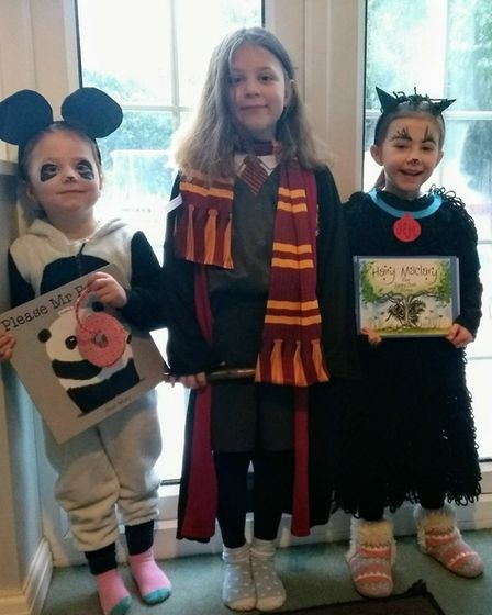Hannah, Emily and Charlotte as Hermione Granger, Hairy Maclary and Mr Panda! Windermere school. Pict