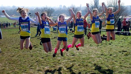 St Albans Athletics Club's delighted U13 girls team were jumping for joy after coming sixth at the N