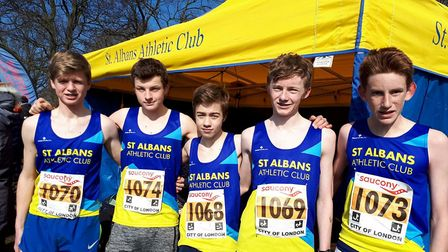 St Albans Athletics Club's U15 boys team at the National Cross Country Championships.