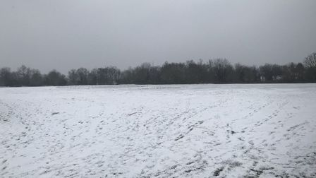 Buckden Football Club's snow-covered base at the Memorial Recreation Ground.