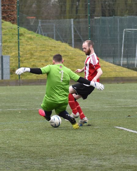 Action from the match between AFC Barley Mow and Alconbury. Picture: J BIGGS PHOTOGRAPHY