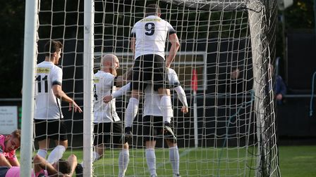 Royston Town were able to celebrate more Adam Marriott goals against Kings Langley. Picture: DANNY L
