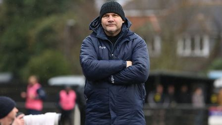 Royston manager Steve Castle on the sidelines. Picture: Danny Loo
