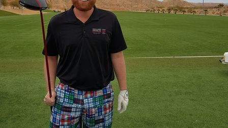 Mike Gays pictured during the Amputee World Long Drive Championship in America.