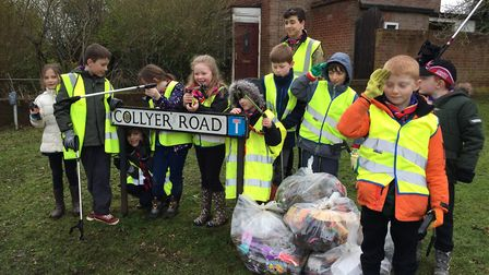The Scouts on their litter pick last Saturday.