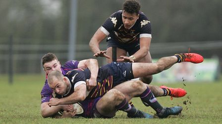 Old Albanians V Loughborough Students - Tom Bednall in action for the Old Albanians.Picture: Kary