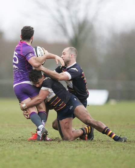 Old Albanians V Loughborough Students - Reuben Bird-Tulloch in action for the Old Albanians.Pictu