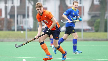 Hitchin V St Albans Hockey - Harry Reyner in action for St Albans.Picture: Karyn Haddon