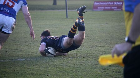 Old Albanian goes over for their third try. Picture: Kevin Lines