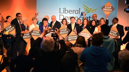 Liberal Democrat leader Sir Vince Cable launching the party's campaign for the European elections (P