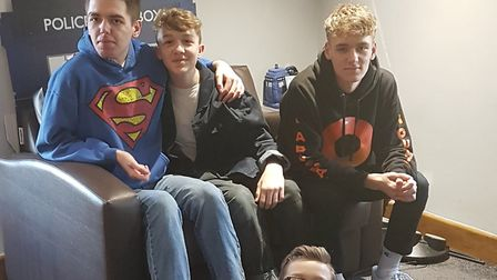 The band with their brother Luke (far left). Picture: Everest Management.
