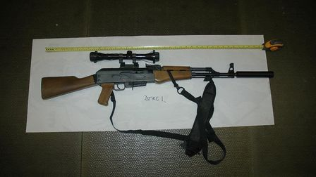 One of the guns found in the raid