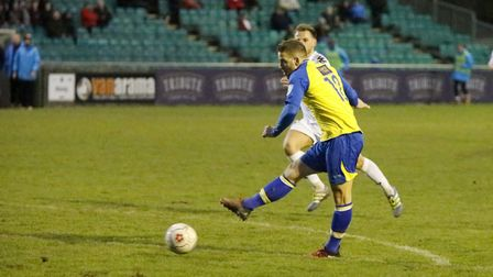 Charlie Walker secured all three points for St Albans City the last time they played Truro. Picture: