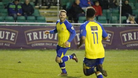 Charlie Walker celebrates his goal against Truro City in December. Picture: LEIGH PAGE