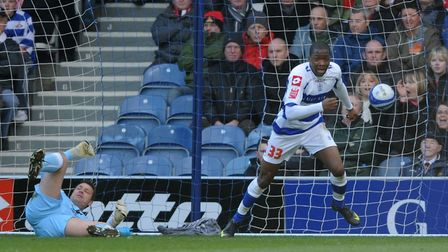 Antonio German scores for QPR against Doncaster Rovers in the Championship. Picture: PA WIRE