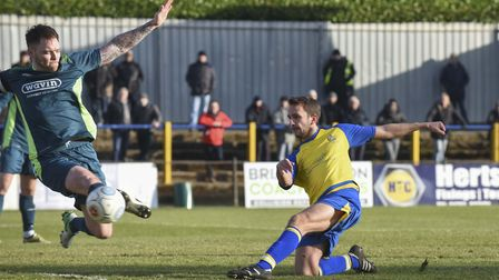 Sam Merson's first-half effort is deflected behind for a corner. Picture: BOB WALKLEY