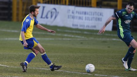 Sam Merson tries to guide the ball in from the edge of the box. Picture: LEIGH PAGE