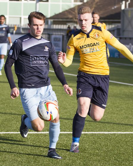 Dylan Williams on the ball for St Neots Town at Slough. Picture: CLAIRE HOWES