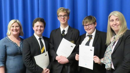 BVC public speaking team, from left, English teacher Rebecca Boxall, Iain Lynn, Ed Evans, Bea Cornwe