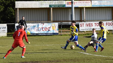 Tom Knowles puts St Ives Town ahead early on in their 4-2 defeat to Farnborough. Picture: J BIGGS PH