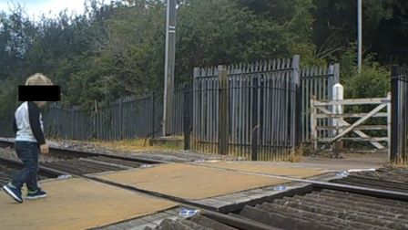 A child crossing the Cottonmill level-crossing. Picture: Network Rail
