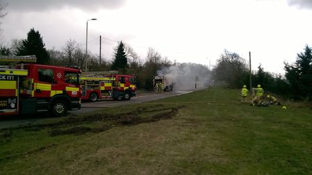 Firefighters on the scene at the A5183 in Frogmore. Picture: BCH Road Policing Unit.