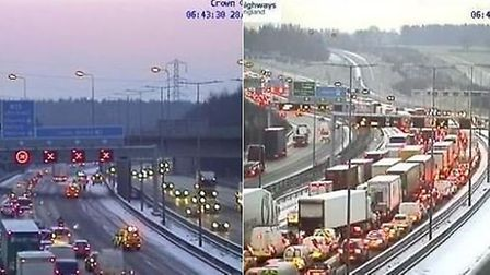 Highways England is warning of severe delays on the M1 this morning. Picture: Highways England