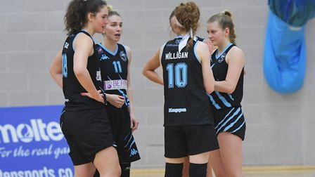 Oaklands Wolves get ready before the start of their WBBL match at home to Westfield Health Sheffield