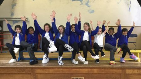 London Colney Primary School pupils in their slippers.