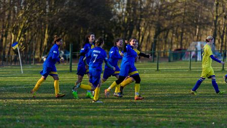 St Albans Ladies celebrate their fourth and winning goal against Shambrook. Picture: RACHEL ELLIS