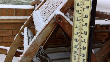 Snow in Royston this morning, where the thermometer showed a temperature four degrees below zero. Pi