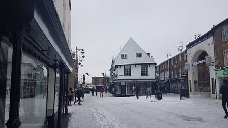 Market Place in St Albans in the snow.