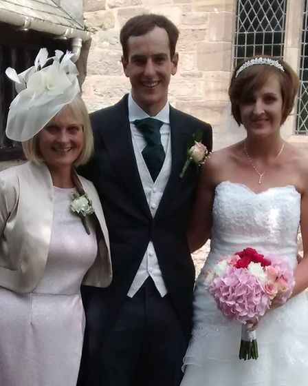 Paula Noble, left, with son Steven and daughter-in-law Claire. Picture: Courtesy of Gary Noble