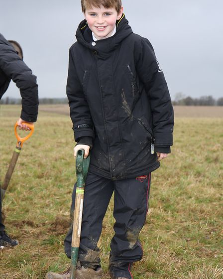 Sandringham School year 7 pupils plant some of the last trees to complete the Woodland Trust Heartwo