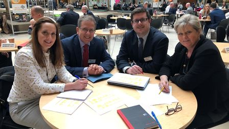 Anne Main (furthest right) with Thameslink's head of strategic planning Phil Hutchinson (to the left