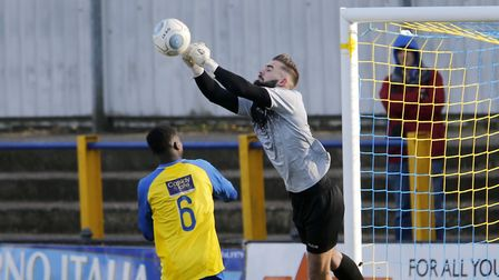 St Albans City's Dean Snedker was the busier of the two keepers in the first half against Poole Town