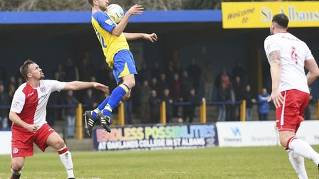 Sam Merson takes a high ball down on his chest. Picture: BOB WALKLEY