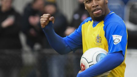 Shaun Lucien celebrates at the final whistle. Picture: BOB WALKLEY