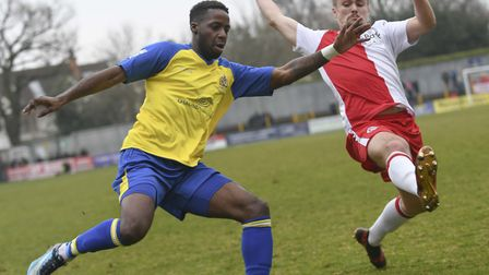 Rhys Murrell-Williamson puts in a cross for St Albans City against Poole Town. Picture: BOB WALKLEY