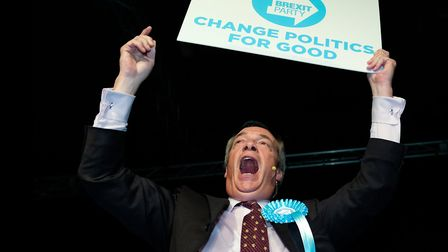 LIE MACHINE: Leader Nigel Farage speaks ar a Brexit Party campagn event ahead of the European electi