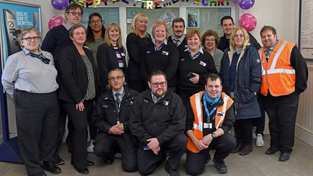 The team at Huntingdon railway station celebrate the retirement of Christine Crate after 40 years. P