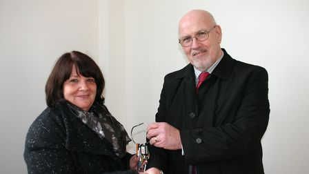 Cllr Angie Dickinson, with Robert Webster, a trustee of The Hub charity.