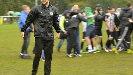 St Ives Town manager Ricky Marheineke celebrates their Southern League Division One (Central) play-o