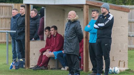 Eaton Socon manager Mark Spavins (front) during his side's defeat to Brampton earlier this season. P