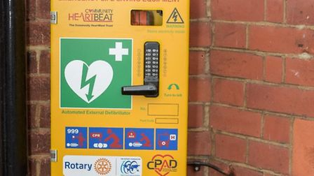 The defibrillator when it was based at the Harpenden Trust. Picture: Harpenden Village Rotary Club.