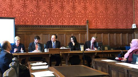 Mark Field MP (centre) at the meeting on the Rohingya crisis with Mrs Main (second from the left).