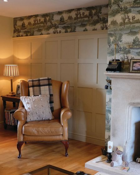 Living room: square panels from the English Panelling company start from £23.40 per sq metre. (https