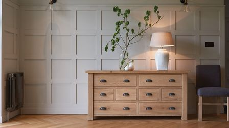 Room-mates: The squares and oblongs work well together when a wall is paired with a traditional oak