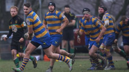 St Albans' George Elliott scored and then converted a try against Stevenage Town.Picture: KARYN HA