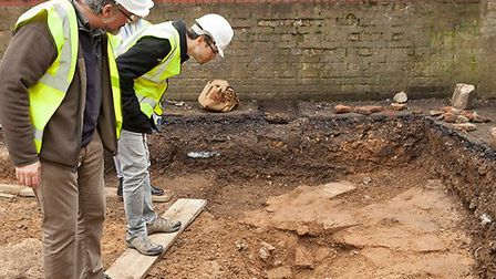 Verulamium Museum staff at the site of the dig. Picture: Andrew Rafferty